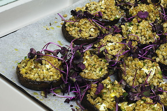 Yotam Ottolenghi's Portobello Mushrooms with Pearled Barley and Preserved Lemon