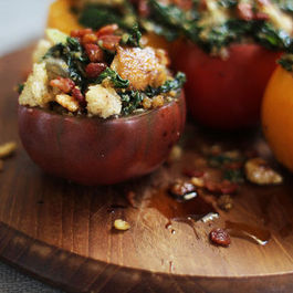 Swiss Chard + Walnut Stuffed Tomatoes with Pancetta Breadcrumbs
