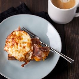 Toast with Squash, Prosciutto, and an Egg