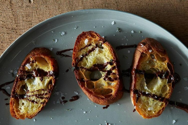 Chocolate Crostini with Olive Oil and Salt