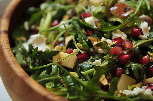 Arugula Salad with Pomegranate Vinaigrette + Buttery Carrots