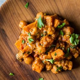 Sweet Potato Chana Masala + Bananas in Coconut Milk