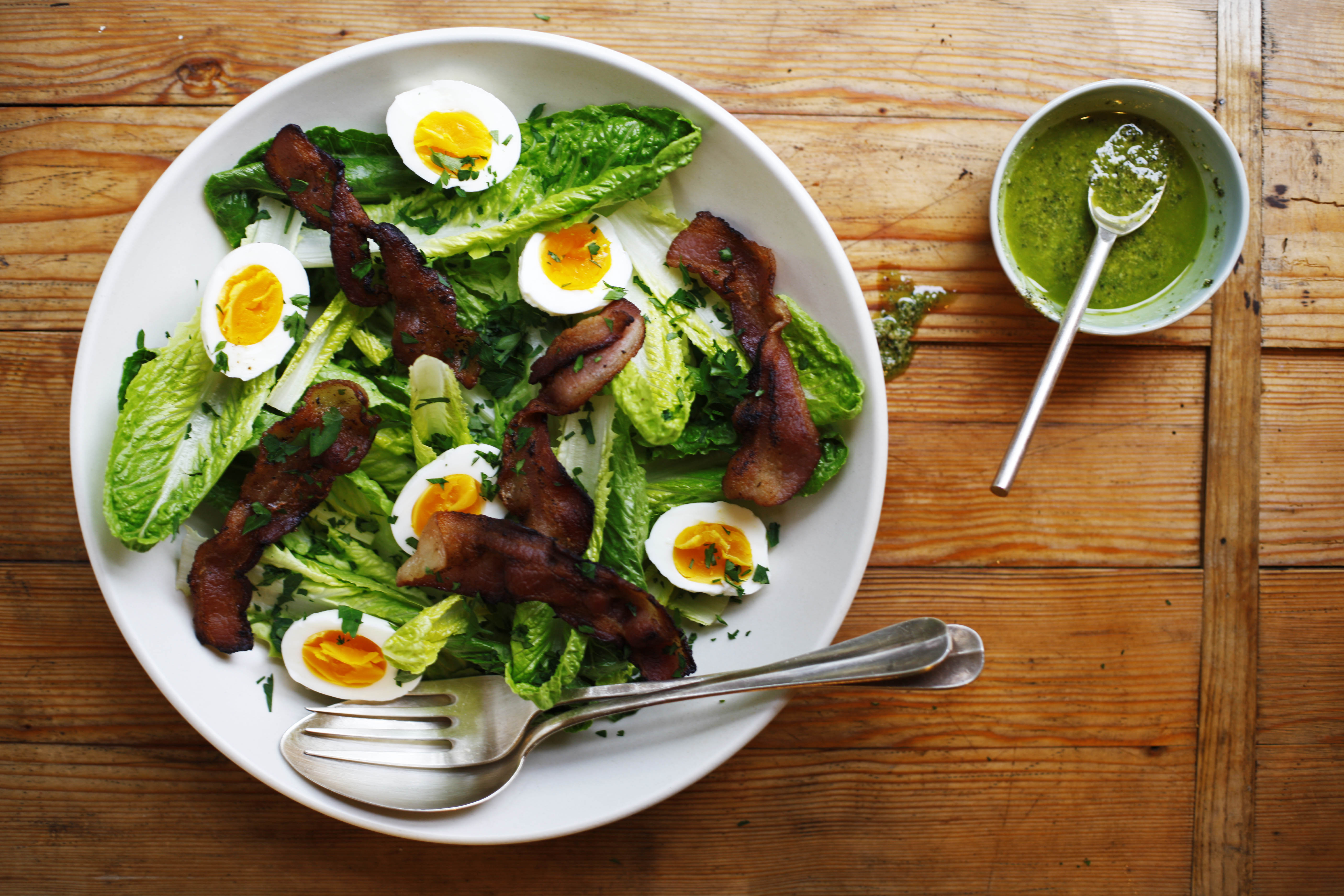 Romaine salad with bacon 5 minute eggs and pesto dressing for Food52 lemon bar