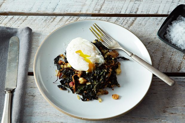 Slow-Cooked Tuscan Kale with Pancetta, Breadcrumbs, and a Poached Egg