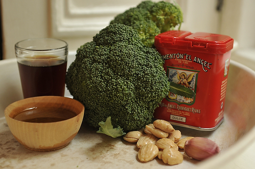 Roasted Broccoli with Smoked Paprika Vinaigrette and Marcona Almonds