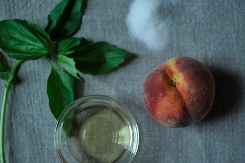 Peaches Poached with Basil