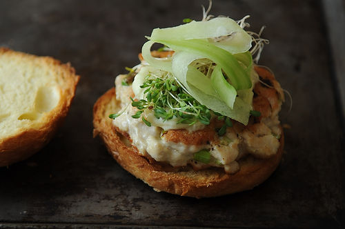 Tuna Burgers with Wasabi Ginger Mayo