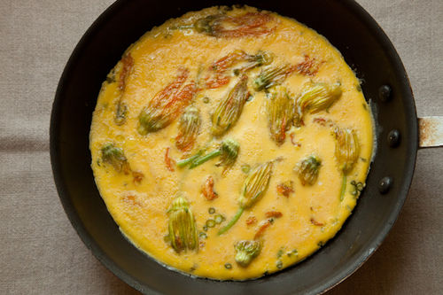 Squash Blossom and Garlic Frittata